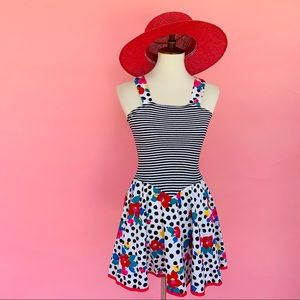Vtg 80s Striped Floral Polka Dot Mini Dress S M